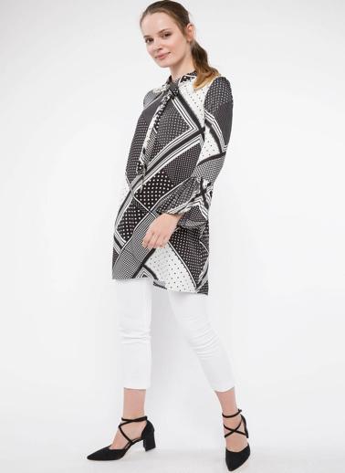 DeFacto Yaka Bağlama Detaylı Desenli Tunik Beyaz
